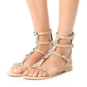 NEW Rebecca Minkoff turquoise studded gladiators